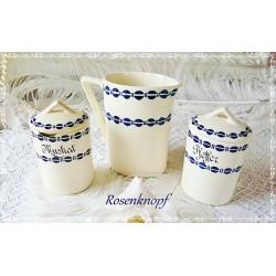 Shabby Keramik Set 3tlg Vintage Creme Blau Rarität