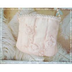 TASCHE Brauttasche Handtasche Abendtasche Damenhandtasche UNIKAT Puder Rosa Leinen Seide Spitze E
