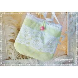 HANDTASCHE Brauttasche Hellgrün Lindgrün Weiß Tasche Abendtasche Damentasche  Spitze Perlen Hochzeit Stickerei K