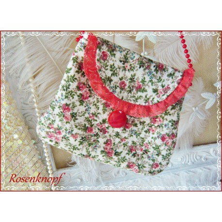 fc70e7c907a2e Tasche Unikat Weiß Rot Grün Spitze Handtasche - Charlott Amsberg