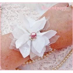 Armband Brautschmuck Weiß Shabby