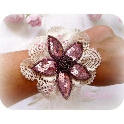Armband Brautschmuck Rosa Weiß Pailletten