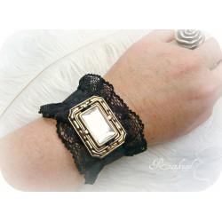 Manschette ZOE Armband Spitze Schwarz vintage