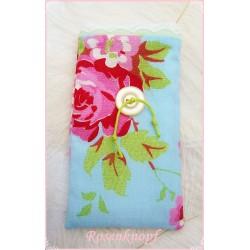 Handy-Etui LISA-ROS Stoff Weiß Rosa Rosen