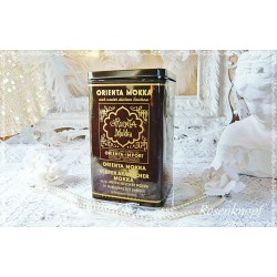 Antike DOSE ORIENT MOKKA Vintage Weißblech Braun