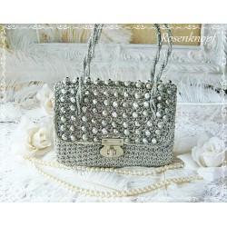 Tasche SILVERY GLEAM Vintage Brauttasche Silber