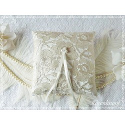 Ringkissen SILVERY Weiß Silber Spitze Braut