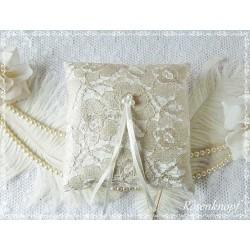 Ringkissen Weiß Silber Tüllspitze Hochzeit  EK