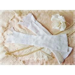 STULPEN Vintage Weiß ~ nur zur Dekoration Uralt Shabby French Brocante Daumenloch Armstulpen Gestrickt Reinweiß E