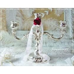KERZENSTÄNDER Kerzenhalter Versilbert Shabby Vintage Brocante Rose Rot Silber Kerzenleuchter E