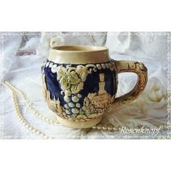 BIERKRUG RELIEF Keramik Vintage Shabby Beige Grün