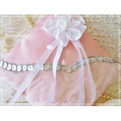 Ringkissen ROSELIA Weiß Spitze Rosa Braut Perlen