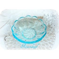 Glasschale TÜRKIS Vintage Dessertschale Hellblau