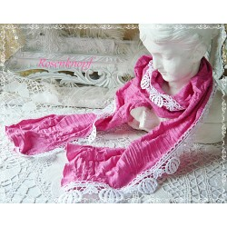 Tuch Pink Rosa Weiß Schal Braut Unikat Damen