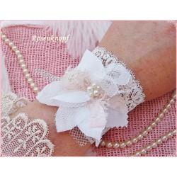 Armband ELOISE Brautschmuck Shabby Weiß Tüll