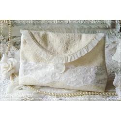 KULTURTASCHE Kulturbeutel Etui Badtasche Kosmetiktasche Leinen UNIKAT Ivory Spitze Vintage Shabby Weiß  Handarbeit E