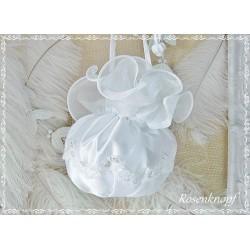 HANDTASCHE Weiß Brautbeutel Beutel Brauttasche Tasche Abendtasche Damentasche  Organza Perlen Hochzeit Stickerei E