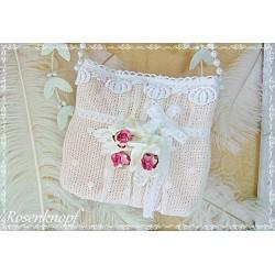 TASCHE Brauttasche Rosa Weiß Rosen Handtasche Damenhandtasche Abendtasche Umhängetasche Spitze Tüll Perlen E