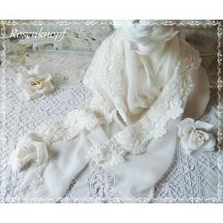 Brautstola Seide Ivory Schal Tuch Hochzeit