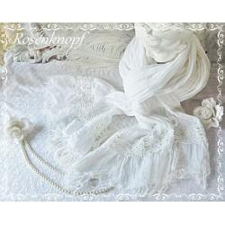 Brautstola Weiß Spitze Perlen Schal Tuch Hochzeit