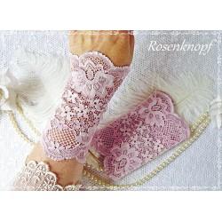 Spitzenstulpen Brautstulpen Violett Rosa