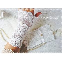 Brautstulpen MARRIAGE Spitzenstulpen Weiß Spitze PerlmuttKnopf