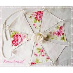 Wimpelkette Girlande Weiß Rosen