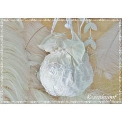 Brauttasche GET MARRIED Tasche Vintage Weiß Spitze Perlen