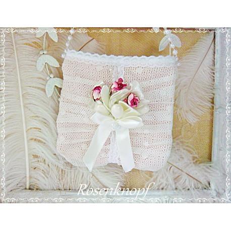 Brauttasche MA CHÉRE Tasche Puder Weiß Spitze Rosen