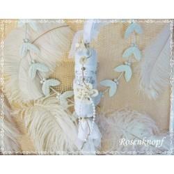 Shabby BONBON Tüll Spitze Perlen Engelsoblate Weiß
