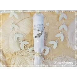 Shabby BONBON Tüll Spitze Perlen Ivory Weiß