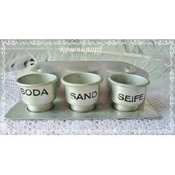 ANTIK SODA SAND SEIFE SET Puppenküche Aluminium