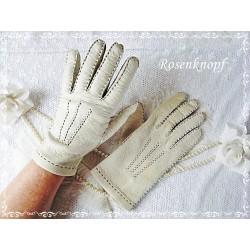 Fingerhandschuhe Leder Damen Hellbeige
