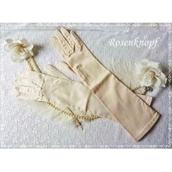 Stoffhandschuhe VINTAGE-LADY Weiß Brauthandschuhe