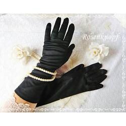 Fingerhhandschuhe Schwarz Damen Vintage