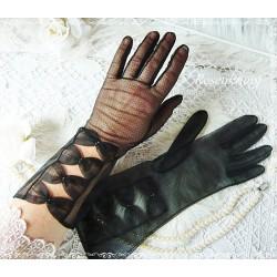 Elegante HANDSCHUHE Schwarz Shabby Spitze Vintage