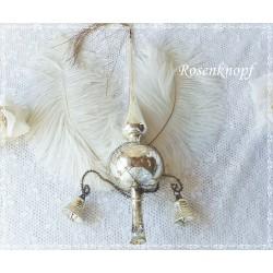 Vintage CHRISTBAUMSPITZE Silber Weihnachten Shabby Glöckchen