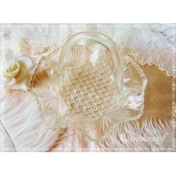 Antike GLASSCHALE mit Henkel Vintage