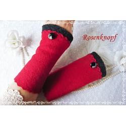 Walkstulpen ROISE Armstulpen Rot Schwarz Knopf
