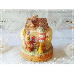 Vintage SPIELUHR Keramik Shabby Ostern Haus Bunt