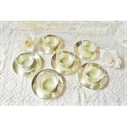 6tlg Teetassen Set Glas Versilbert Shabby Vintage