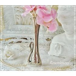 Vase SCHWAN Vintage Shabby Versilbert Blumen Edel