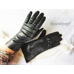 HANDSCHUHE Lederhandschuhe Damenhandschuhe Frauen Schwarz Leder Gefüttert Vintage Neuwertig E