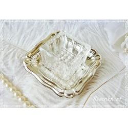 GLAS mit SILBERSCHALE  Vintage  Shabby Silber