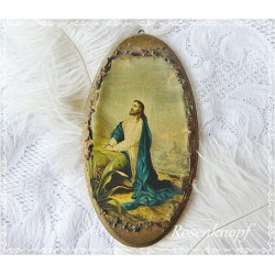 Heiligenbild Jesus Holz Vintage 19tes Jhrt E