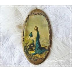 HEILIGENBILD Jesus Holzbild Bild Wandbild Jesusbild Vintage Shabby Brocante 19tes Jahrhundert E