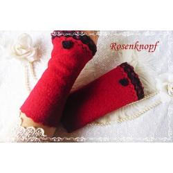 Walkstulpen ROSEVA Armstulpen Rot Bordeaux Rose