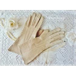 Fingerhandschuhe Leder Damen Grau-Beige