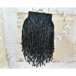 Tasche BROADWAY Vintage Schwarz 20ger Jahre Perlen
