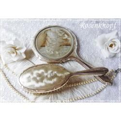 FRISIERSET Versilbert Kleiderbürste Spiegel Haarbürste Vintage Shabby